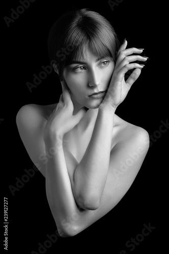 sad topless woman - 239127277