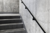 Concrete staircase with banister in modern building, Escape staircase detail
