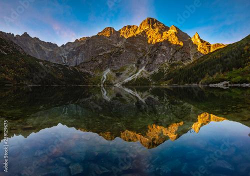 mountain lake during sunrise - Morskie Oko, Tatra Mountains, Poland