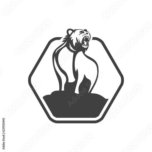Kodiak bear mascot cartoon character logo design vector eps format
