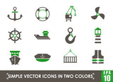 harbor simple vector icons in two colors