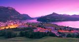 Night. Canton Schwyz, Brunnen town. Trandy colors.