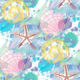 Hand drawn seamless pattern with seashells. - 239170631