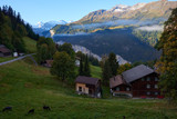 Morning in Wengen mountain village in Switzerland. - 239172875