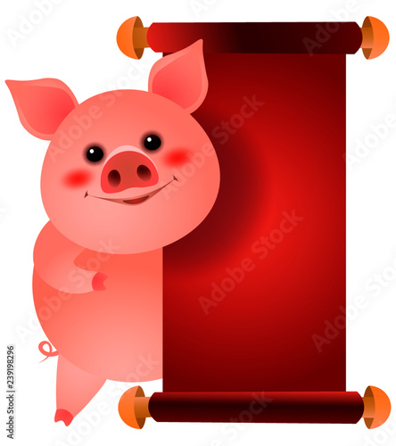 Happy pig standing at blank red paper illustration