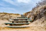 Holztreppe über eine Düne auf Sylt - 239206249