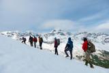 winter walk sport of crowd climber team