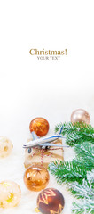 Christmas background on the theme of travel. Selective focus. © yanadjan