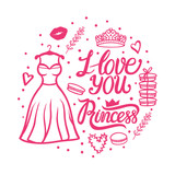 I love you Princess lettering iscription. Valentines day greeting design. Cute style dress with diadem. Vector illustration isolated