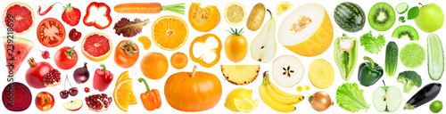 Collection of color fruits and vegetables on white - 239218699