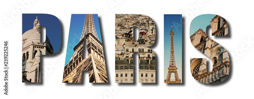 Paris France collage on white - 239225246