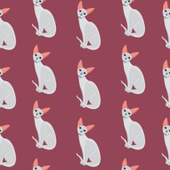 Vector cat seamless pattern. Cute white kitten in cartoon style