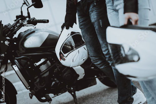 Man And Women Bikers. Motorcycle Ride Concept.