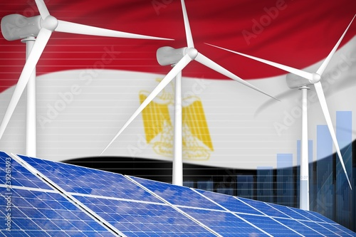 Egypt solar and wind energy digital graph concept - renewable natural energy industrial illustration. 3D & Egypt solar and wind energy digital graph concept - renewable ...