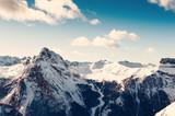 Ski resort in winter Dolomite Alps. Val Di Fassa, Italy