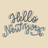 Inspirational quote Hello New York. Hand lettering design element. Ink brush calligraphy