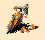 moto sport vector supermoto icon sticker design