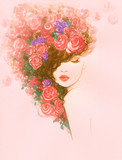 beautiful woman. fashion illustration. watercolor painting - 239285257