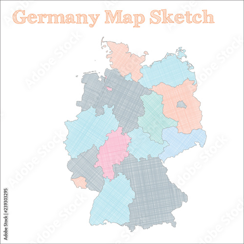 Regions Of Germany Map.Germany Map Hand Drawn Country Excellent Sketchy Germany Map With