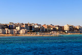 Beautiful view of the coastline with houses and hotels in Hurghada, Egypt. View from Red sea - 239305686