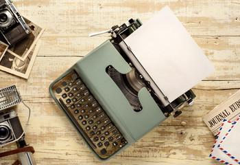 vintage typewriter journalism top table view © MIGUEL GARCIA SAAVED