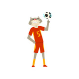Man with cat head playing with ball, animal character wearing sports uniform vector Illustration on a white background