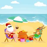 Cartoon friends drinking cocktails on summer beach