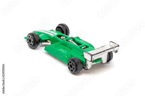 Photo of green toy model car isolated on white background - 239311436