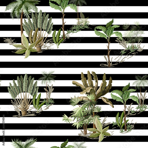 Seamless pattern with exotic trees such us palm and banana on landscape. Interior vintage wallpaper.