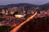 Evening autumn photography of cityscape of Zlin, Czech Republic, Europe with lights from cars taken from former industrial and current administrative bulding no. 21.