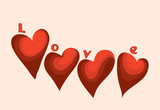 Valentine card banner with four hearts and letters / choice your love