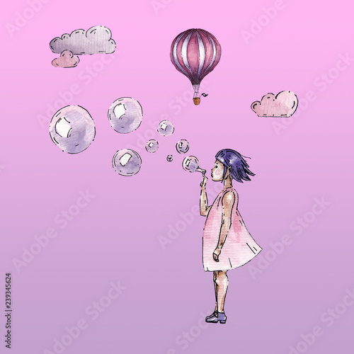Watercolor gurl with bubbles