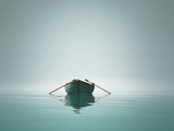 A boat on the lake in the morning