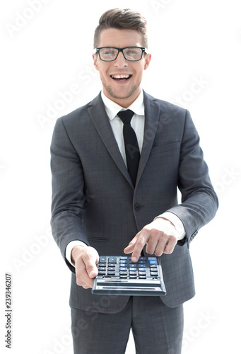 men's hand on calculator's keyboard - 239346207