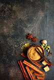 Assortment of winter spices.Top view with copy space. - 239366400