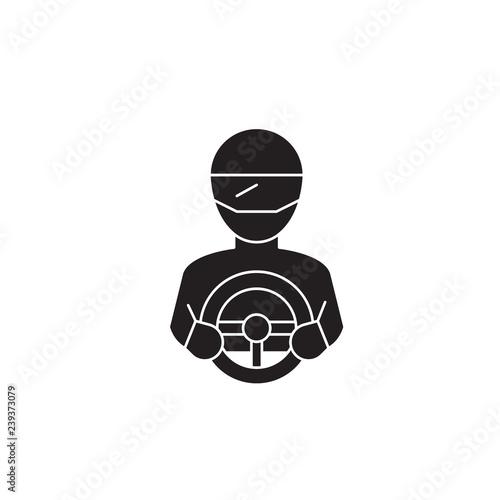 Racer black vector concept icon. Racer flat illustration, sign, symbol