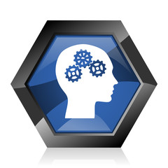 Head dark blue glossy hexagon geometric diamond vector web icon with reflection on white background. Modern design hexagonal internet creativity button. © Alex White