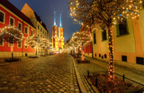 Night view of Ostrow Tumski in the Christmas version.Wroclaw,Poland.