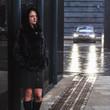 A girl in a black coat