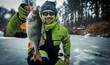 Leinwanddruck Bild - Trophy perch. Ice fishing background.