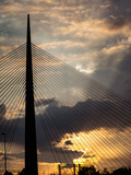 Big tower suspension bridge silhouette at sunset © Dimitrius