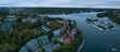 Aerial panoramic view of Melville Cove in the Modern City during a cloudy sunrise. Taken in Armdale, Halifax, Nova Scotia, Canada.