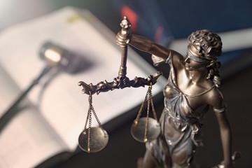 Statue of justice on books background © Proxima Studio