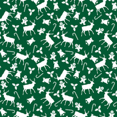 Christmas Icons Seamless Pattern - Reindeer, bell, holly, candy cane, and gingerbread man on green background © Mai