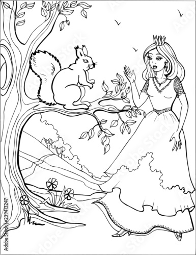 Squirrel with a beautiful Princess. Coloring book. 3 - 239413247