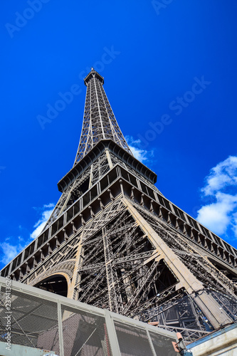 The iconic Eiffel Tower on the Champ de Mars in Paris, France