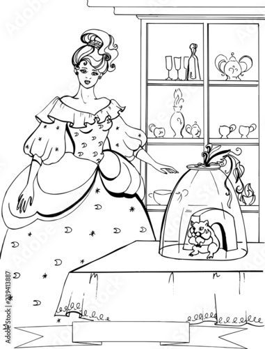 A hamster with a beautiful Princess. Coloring book. 34