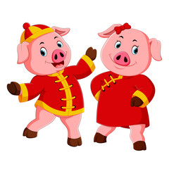 two excited pink pigs use the red costume for celebrate chinese new year © hermandesign2015