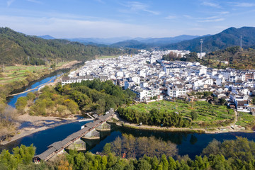 aerial view of rainbow bridge and ancient town