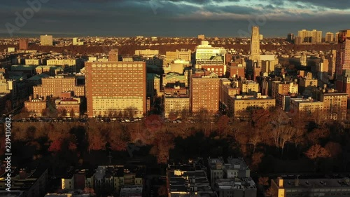 Drone approach of gorgeous Morningside Heights neighborhood in Manhattan, New York City.  at Sunrise / Golden Hour.  in 4K.